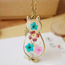 Classic Girl Women Cat Design Natural Dried Flowers Pendant Necklace New Jewlery
