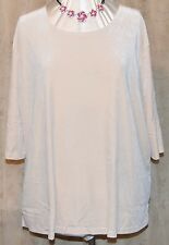 QVC DIALOGUE SO PRETTY STRETCH VELVET SHELL IN PEARL ELBOW LENGTH SLEEVE 3X NEW