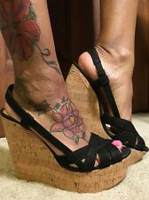 NEW-JESSICA SIMPSON WESTT BLACK SUEDE STRAPPY WEDGES Sz10~FREE SHIPPING~~