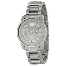 Movado Bold Silver Crystal Pave Dial Staunless Steel Ladies Watch 3600254