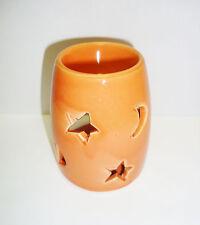 """orange Duftlampe / Aromalampe """" Mond - Sterne """" Keramik"""