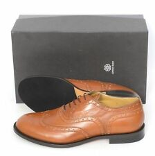 Mens LORENZO BANFI Brown Leather Brogue Wingtip Oxford Shoes US 8 D $1025!