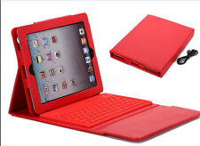 For New Apple iPad 4 3 2nd Stand Leather Case Cover With Bluetooth Keyboard Red