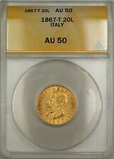 1867-T Italy 20L Lire Gold Coin ANACS AU-50