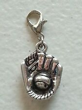 BASEBALL/SOFTBALL GLOVE  ANTIQUE  SILVER CHARM  - LOBSTER CLASP-METAL ALLOY