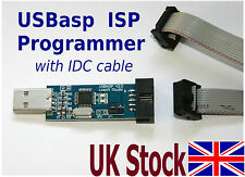 USB ISP Programmer with IDC cable AVR ATMEL ATMega ATTiny USBasp  - UK Stock