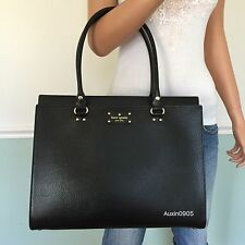 NEW! KATE SPADE Black Wellesley Leather Large Shoulder Bag Laptop Tote Purse
