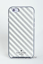 Kate Spade Hard Cover Case for iPhone 6 iPhone 6s Silver/Cream Diagonal Stripes