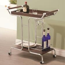 Kitchen Wine Serving Cart with Stemware Rack and Casters by Coaster 910065