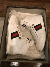 100% Authentic Gucci Praga High Top white Size 7+ (us 8.5/9) Yeezys Bred Top 3