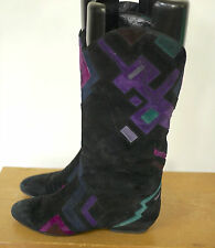 Stuart Weitzman Geometric Black Suede Leather Mod Pirate Slouch Boots 7.5B 38