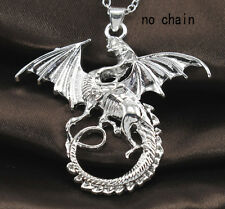 TOP Grade 925 Silver Fashion Jewelry Dragon Type Wings Necklace Pendant