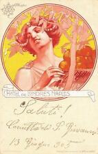 X877) HOTEL DEL LONDRES NAPLES, ILLUSTRATORE MATALONI. VIAGGIATA NEL 1905.