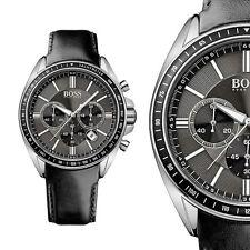 Hugo Boss Black Driver Sport 1513085 Schwarz Edelstahl Herrenuhr Leder Armbanduh