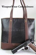 LEATHER TOTE BAG Concealment Purse Black Concealed Carry CCW Holster Gun Purse