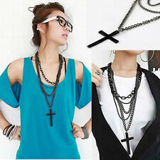 New Retro Vintage Punk Style Modern Cross Pendant Black Long Chain Necklace Hot