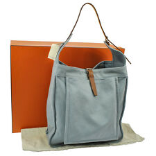 Authentic HERMES MARWARI GM Shoulder Bag Blue Brown Canvas SHW GOOD S05452