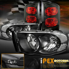 2002-2005 Dodge RAM 1500 2500 3500 Black Headlights W/ Smoked-Black Tail Lights