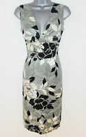 Stunning Phase Eight Floral Silk Linen Evening Occasion Pencil Dress Size 8