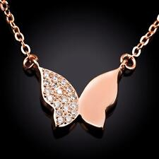 Real Ladies Girls Simulated Diamond Butterfly Pendant Necklace Rose Gold RG/F