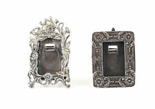 2pc Continental .925 Hand Chased Silver Miniature Floral Photo Frames, c.1900
