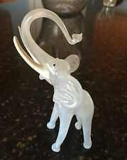 MURANO BIMINI LAMPWORK 5 3/4 INCH BLOWN GLASS AND WHITE ENAMEL PAINTED ELEPHANT