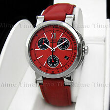 Men's Movado VIZIO Chronograph Red Dial w/ Date Leather Swiss Quartz Watch