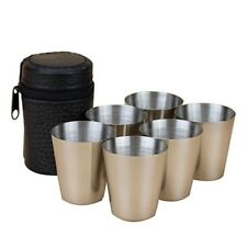 Beer Wine Stainless Steel Mini Cups Travel Outdoor Camping Cut Sets + Cover Case