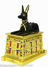 Gold Plated Anubis Collectible Trinket Jewelry Box EGYPTIAN TREASURES FREE S&H