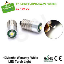 2X E10 Flashlight Bulb CREE 3W Emergency Light Lamps LED 6000K 3V 6V 12V 18V DC