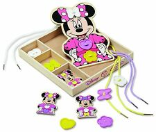 Melissa and Doug Disney Minnie Mouse Button-Match Wooden Lacing Set Game