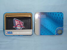 NEW JERSEY / BROOKLYN NETS   embroidered  Leather TriFold Wallet    NIB    black