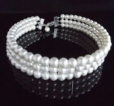 Triple Strand Cream Glass Pearl Choker 8mm Beads Christmas Party Gift