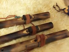 Native American style Flute bamboo Ebony Bird Fire Treated
