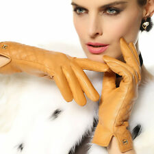 ELMA Lady's genuine Kid leather winter Gloves with Gold Plated logo