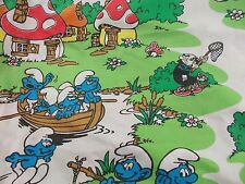 Smurfs Twin fitted Sheet VTG 80s Lawtex made in USA Gargamel smurfette fabric