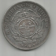 South Africa 1892 5 Shilling Double Shaft 4,327 Minted, Silver, ZAR CROWN