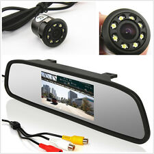 18.5 mm 8 LED Night Vision Camera+Car Rearview Mirror LCD Screen Dispaly Monitor