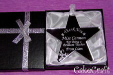 Mirrored Personalised Acrylic Thank You Teacher Star keepsake gift in box