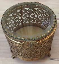 Vintage Round Gold Filigree & Glass Jewelry Trinket Box Footed Vanity Casket
