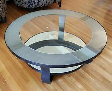 VINTAGE ART DECO INSPIRED BLACK LACQUERED MIRROR & GLASS BENTWOOD COFFEE TABLE