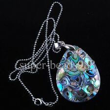 New Zealand Abalone Green Shell Drop Pendant Beads Silver Plated Necklace SN1155