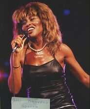 TINA TURNER SWEATING IN CONCERT IN TINY BLACK LEATHER DRESS  8 X 10 PHOTO 1