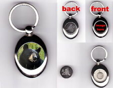 BLACK BEAR TROLLEY COIN TOKEN KEYRING WILD ANIMAL LOVER PHOTO FAN GIFT
