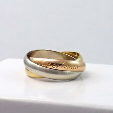 MUST DE CARTIER 18K TRICOLOR GOLD TRINITY AMOUR ROLLING WEDDING BAND RING Sz 6.5