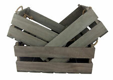 Wooden Crate Set of 3 Grey Brown Rustic Shabby Wood & Rope Storage Boxes Box New