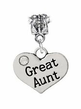 Great Aunt Niece Heart Nephew Gift Family Dangle Bead for Euro Charm Bracelets