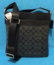 NEW COACH MEN'S SIGNATURE PVC AND LEATHER CROSSBODY BAG Charcoal/Black F54781