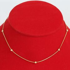 "SIGNED RETRO SOLID 14K GOLD 15.75"" BEADED BOX CHAIN NECKLACE, 4.2 gms, EXC!"