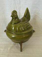 Vintage California Pottery Chicken Hen On Nest Casserole Chafing Dish and Warmer